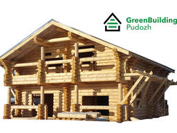 House kits and log cabins made of rounded logs.